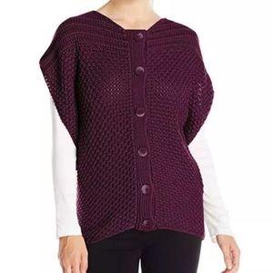 Prana Ester Sweater Cardigan Vest Chunky Purple S